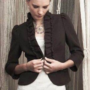Anthropologie Elevenses Ruffle Wool Blazer - 6